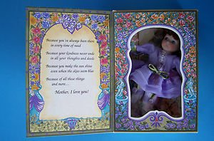 """MOTHER'S DAY GREETING CARD DOLL w/ BOUQUET  6"""" Brown Hair & Blue Eyes 1994 NRFB"""