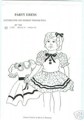"SHIRLEY TEMPLE 16"" PARTY DRESS PATTERN-uncut"