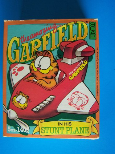 AMAZING GARFIELD STUNT PLANE SOAP & BLOWUP PLANE Made in Canada Pool or Tub  NEW
