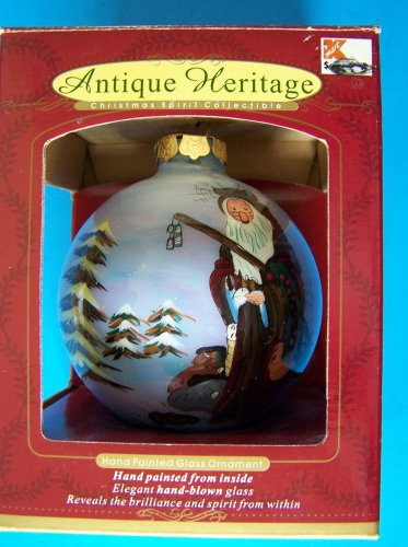 ANTIQUE HERITAGE HAND PAINTED FROM INSIDE  HANDBLOWN GLASS ORNAMENT BALL MIB