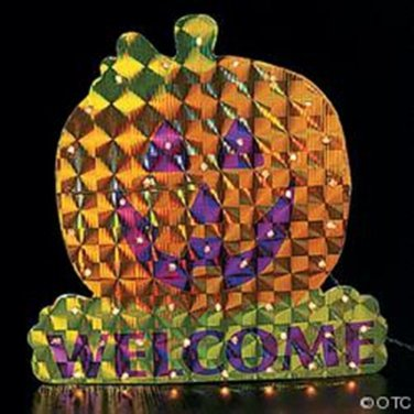 """10"""" HALLOWEEN PUMPKIN  15 1/4"""" x 15 5/8"""" Pumpkin Laser Light Decoraion MIP NEW"""