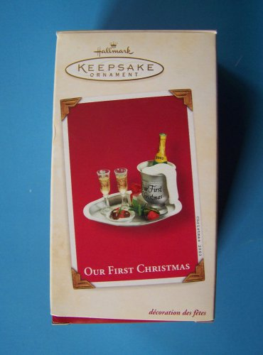 HALLMARK 2003 OUR FIRST CHRISTMAS CHAMPAGNE TRAY ORNAMENT