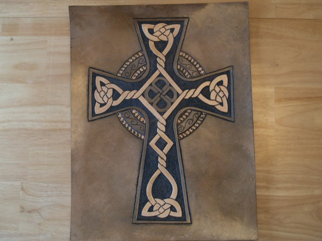 Handtooled Leather Celtic Cross