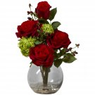 Nearly Natural Rose & Hydrangea Silk Flower Arrangement #1284