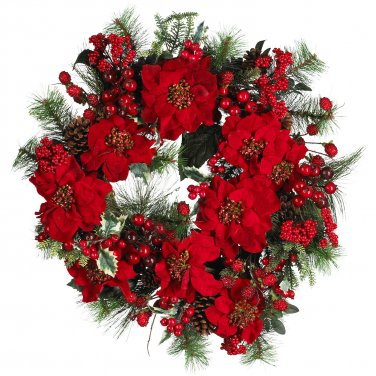 "Nearly Natural 24"" Poinsettia Wreath 4660"