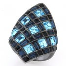 Ladies Ruthenium Brass Aqua Crystal Ring RI00-05385