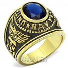 Mens Gold Plated Stainless Steel Navy Military Class Ring RI0T-07431