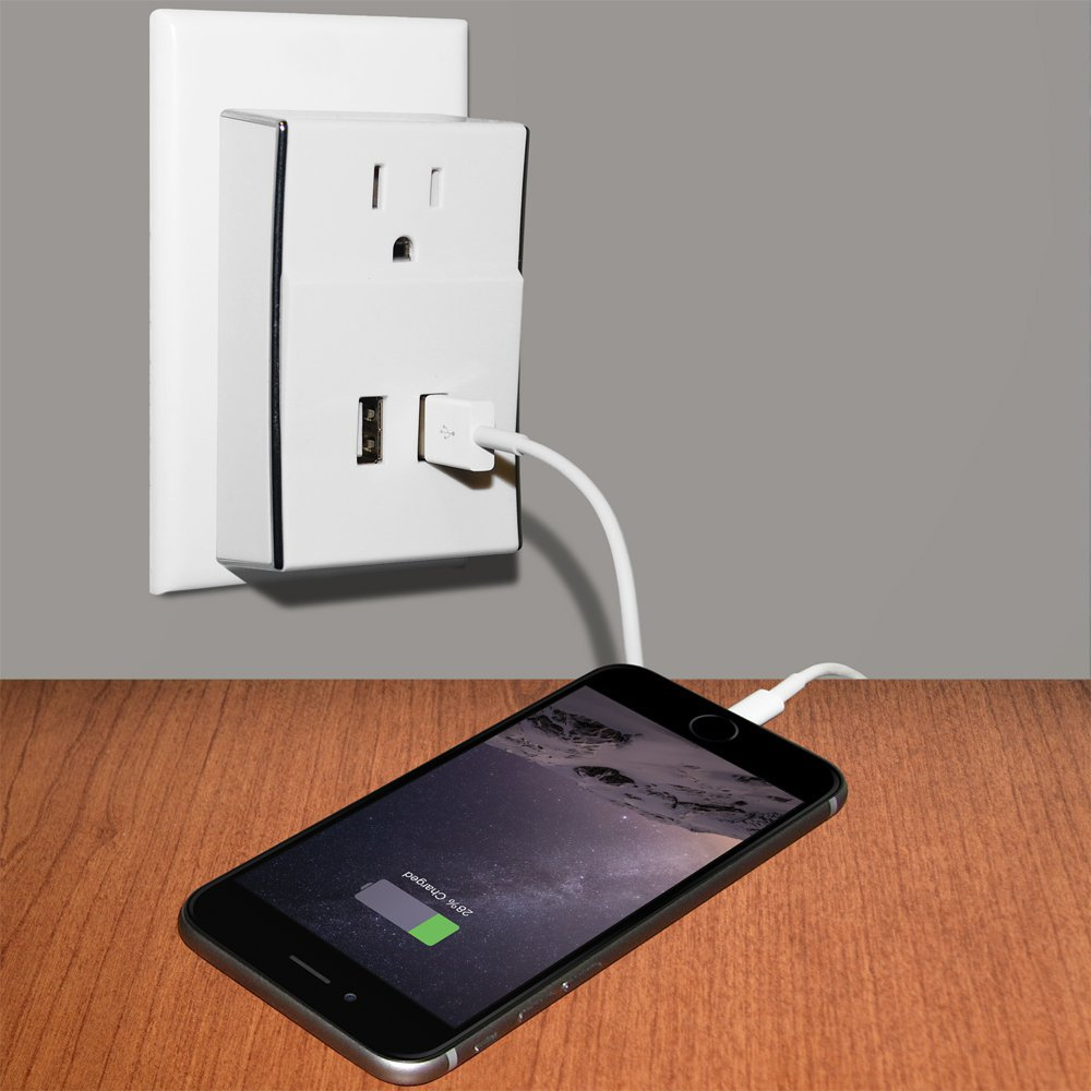 Amzer® Dual USB PLATE eXtender� Power Wall Charger - White 97320