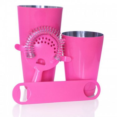 Bartending Set with Speed Opener and 18 ounce Shaker Tin � 4 Piece Neon Pink QQ-18NPPSJB