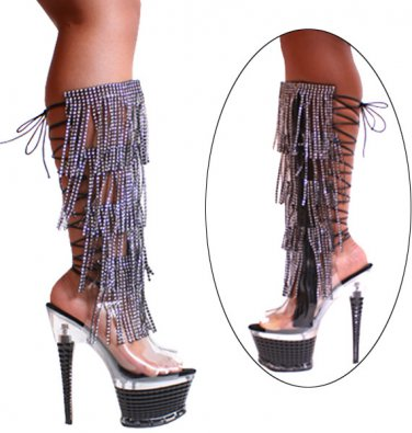 Clear with Black Rhinestone Fringes with Zipper, 7� Black Heels 3215 black