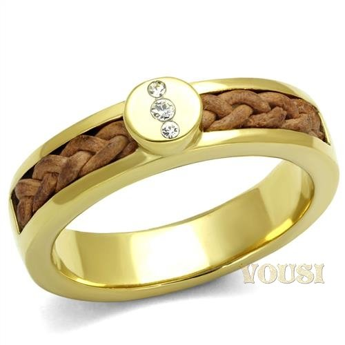 Womens Clear Crystal Stainless Steel IP Gold Coated Braided Ring RI0T-08750