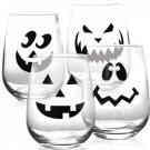 Halloween Jack O'Lantern Stemless Wine Glass - Set of 4