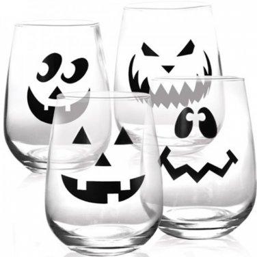 Halloween Jack O'Lantern Stemless Wine Glass - Set of 4