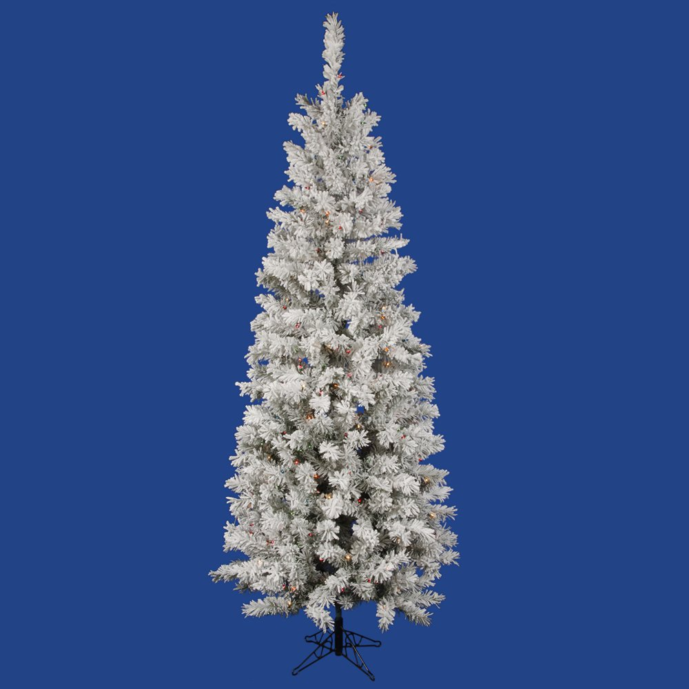 9.5� x 44� Flocked Pacific Pencil 600LED Multi-colored LED Lights Christmas Tree