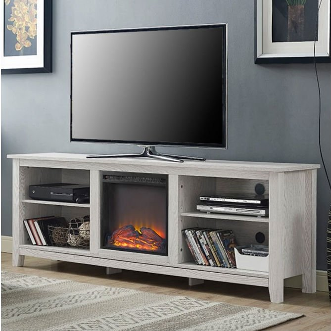 White Wash Wood 70-inch TV Stand Fireplace Space Heater WEFPCHE489571