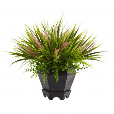 Nearly Natural Grass with Planter 6892