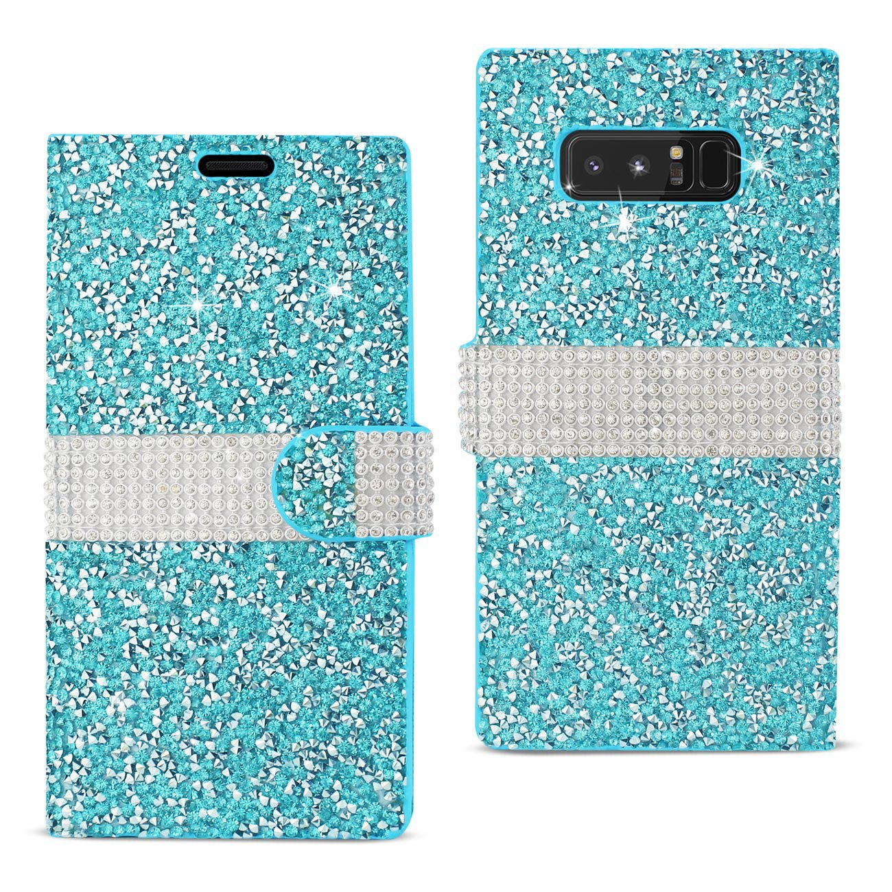 Reiko Samsung Galaxy Note 8 Diamond Rhinestone Wallet Case In Blue DFC02-SAMNOTE8BL