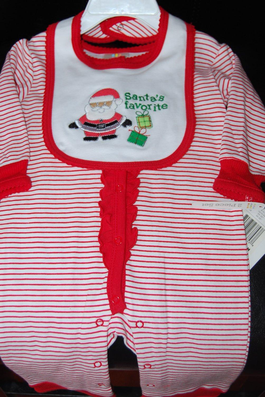 Absorba Christmas Santa Helpers Striped PJ Jumper & Bib 3-6Months