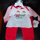 Absorba Christmas 2 Piece Santa & Snowman Pants Set 0-3Months
