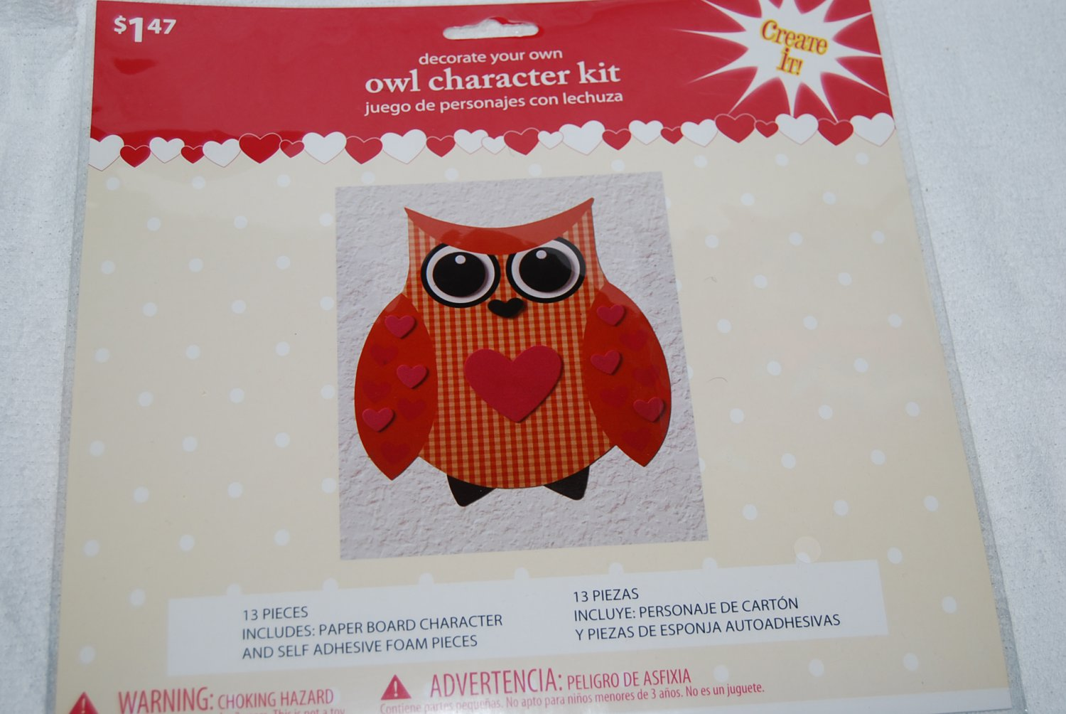 Decorate Your Own Orange Owl Character Kit
