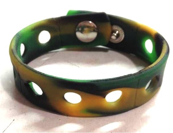 """Camouflage Silicone Wristband Bracelets Holds Charms 7"""" or 8"""""""