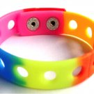 "Rainbow Silicone Wristband Bracelets Holds Charms 7"" or 8"""