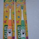 Gum PIP-Squeaks Crayola Orange and Green NEW Two Toothbrushes #232