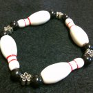 Bowling Pin/Ball Bracelet with Flower beads