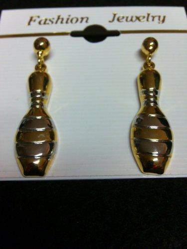 Bowling Pin (gold/silver) Earrings