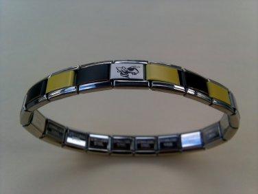 Stainless Steel Yellow/Black Georgia Tech Yellow Jacket Italian Charm Bracelet