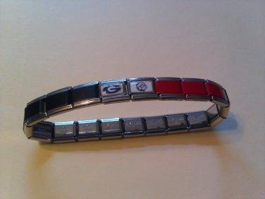 Stainless Steel Georgia Bulldogs (black/red) Italian Charm Bracelet