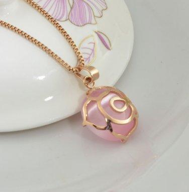 Fashion 14K Rose Gold Cymophane Necklace Pendant