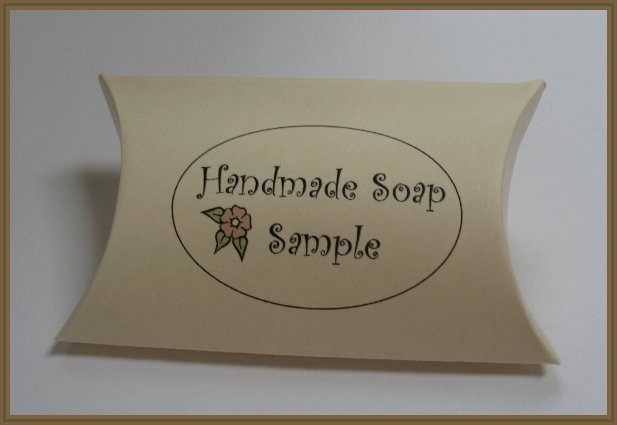 50 Bath & Body Printed Pillow Boxes- Dark Ivory - Text: Handmade Soap Sample with Matching Tags