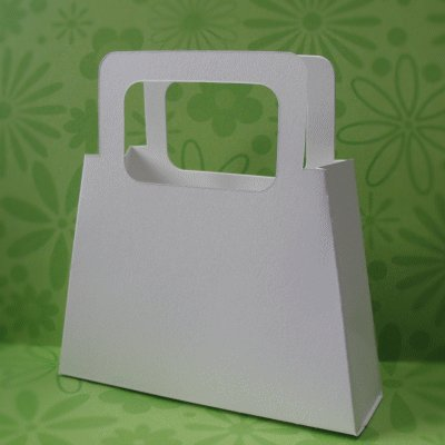 5 White Paperboard Gift Bag Handled Purses with Matching Tags