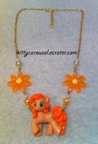 My little pony peachy pie necklace gold x orange