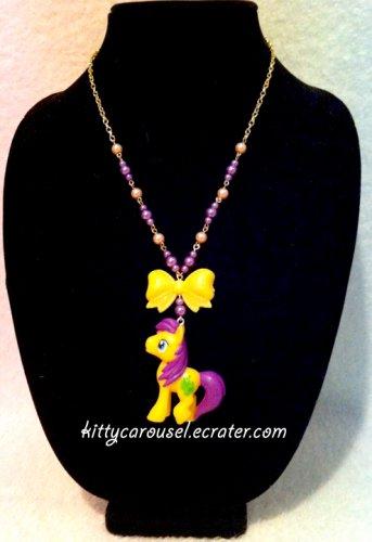 My little pony golden grape necklace yellow x purple