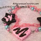 Stars and heart cookie bracelet pink x brown