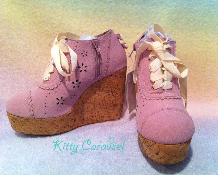 SALE Liz Lisa cork wedge heels lavender