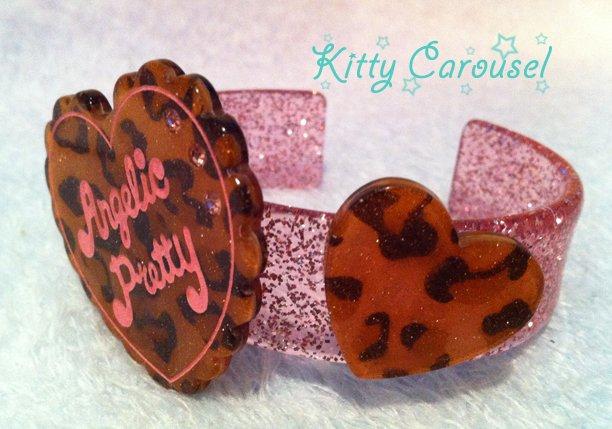Angelic pretty leopard print love heart bangle