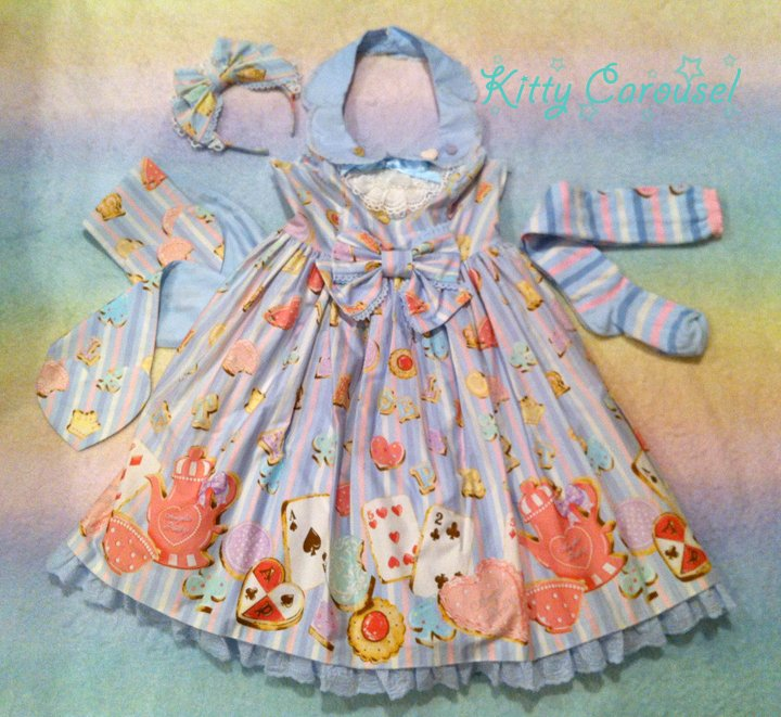 Angelic pretty wonder cookie bustier jsk/ headbow/ otk sax