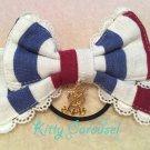 aatp Tricolour ribbon hair band navy
