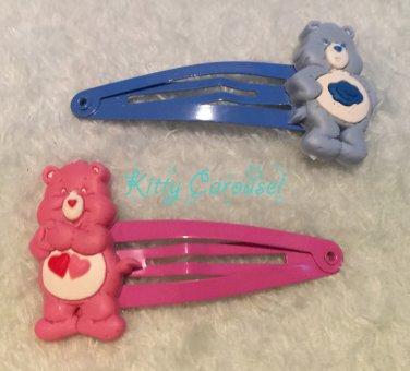 Care Bears hair clips pink x blue