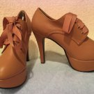 Dream V Lace up ribbon pumps camel
