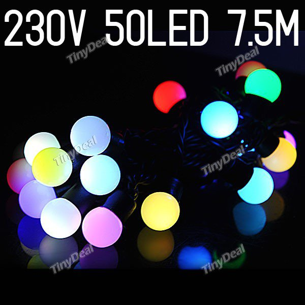 230V 50-LED 7.5M Length 2-Mode String Fairy Light for Christmas Wedding Party