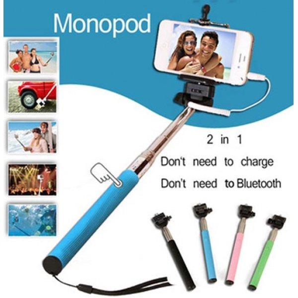Aluminum Alloy Selfie Stick with Wired Shutter for iPhone & Android Cellphone