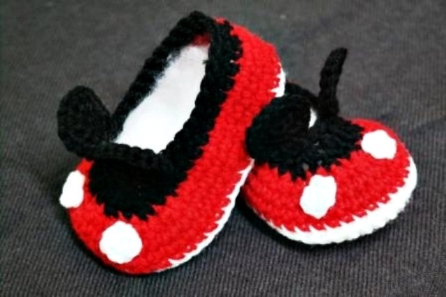 Crochet Handmade Mickey Mouse Mini Booties Baby Shower Favors