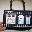 NWTPREZZO HAND BAG WITH SIDEWALK CAFE EMBROIDERY DESIGN