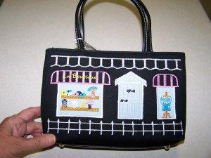 NWTPREZZO HAND BAG WITH SIDEWALK CAFE EMBROIDERY DESIGN