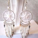 HANDMADE WHITE BEADED DREAM CATCHER DANGLE EARRINGS