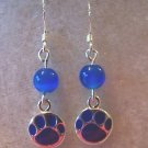 CUTE TIGER LOVERS BLUE TIGER PAW EARRINGS~925 STERLING